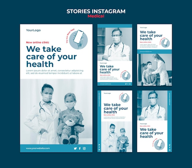 Szablon historii medycznych na instagramie