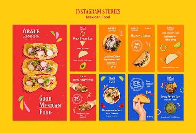 Szablon historii meksykańskiej żywności na instagramie