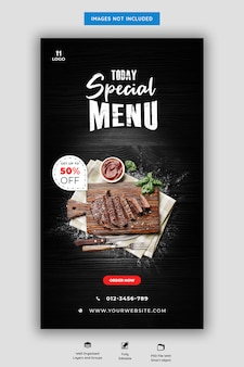 Szablon historii menu restauracji i restauracji instagram