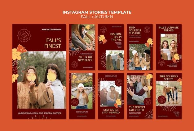 Szablon historii mody jesiennej na instagramie