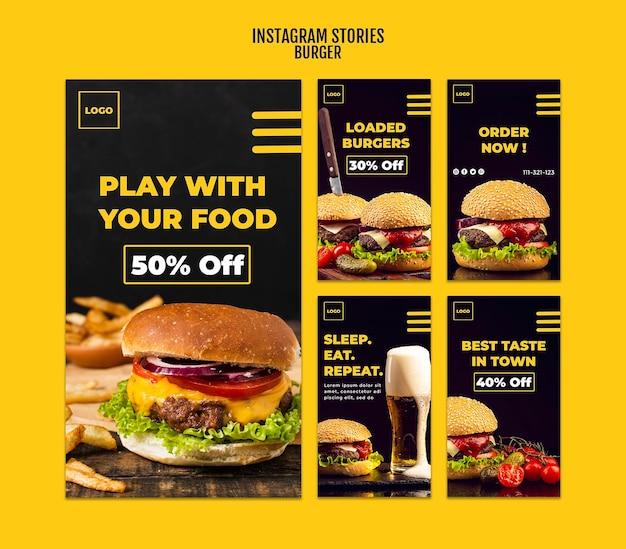 Szablon historii na instagramie burger