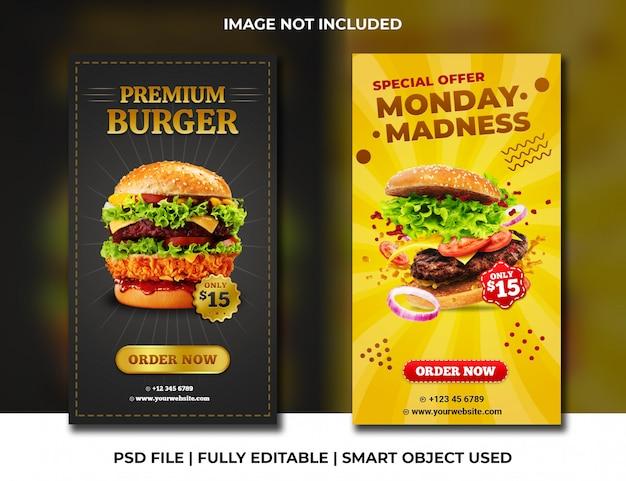 Szablon historii na instagramie dla restauracji fast food burger