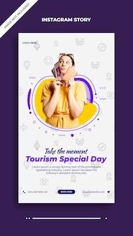 Szablon historii na instagramie i facebooku w specjalny dzień turystyki