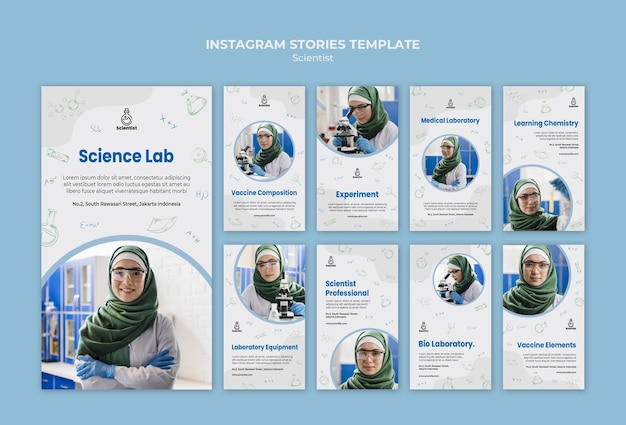 Szablon historii na instagramie klubu naukowego
