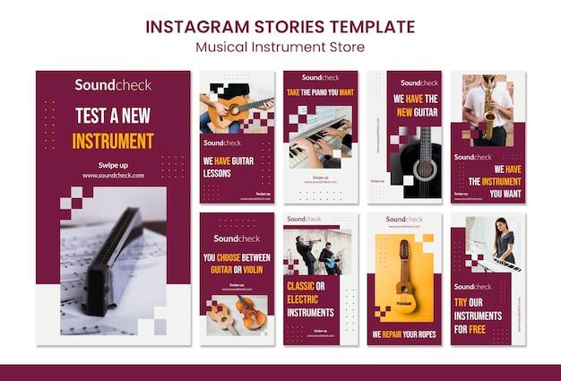 Szablon historii na instagramie koncepcja instrumentu muzycznego