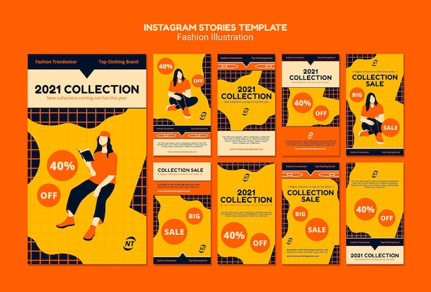 Szablon historii na instagramie koncepcja mody