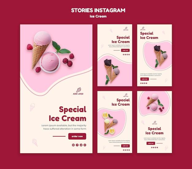 Szablon historii na instagramie lody