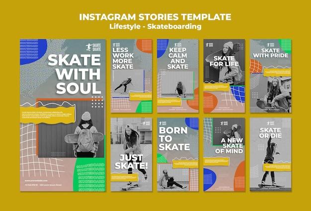 Szablon historii na instagramie na deskorolce