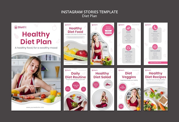 Szablon historii na instagramie planu diety