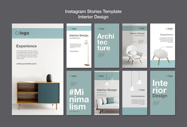 Szablon historii na instagramie projektowania wnętrz