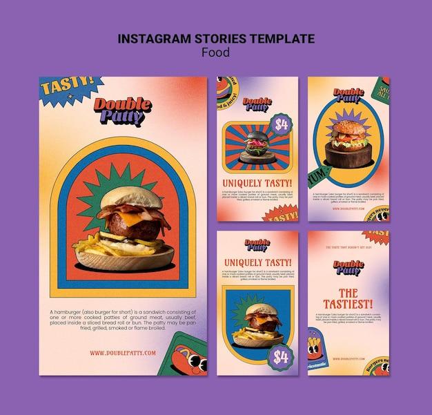 Szablon historii na instagramie pyszne jedzenie