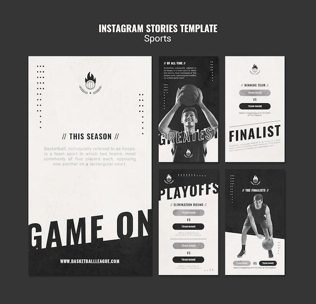 Szablon historii na instagramie w reklamie koszykówki