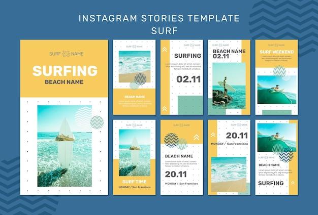 Szablon historii na instagramie w reklamie surfingowej