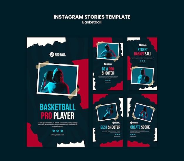 Szablon historii na instagramie w treningu koszykówki