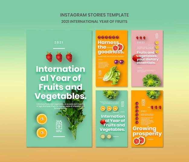 Szablon historii na instagramie z owocami i warzywami