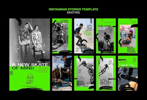 Szablon historii na instagramie z reklamą na łyżwach