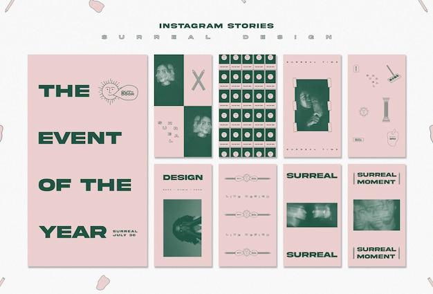 Szablon historii na instagramie z surrealistycznym projektem