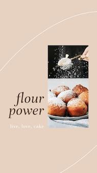 Szablon historii psd w proszku z mąki do marketingu piekarni i kawiarni