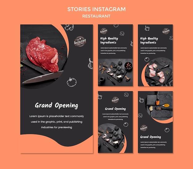 Szablon historii restauracji na instagramie