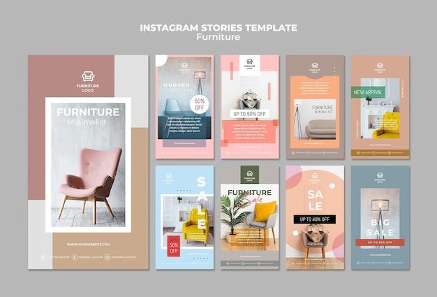 Szablon historii sklepu meblowego na instagramie