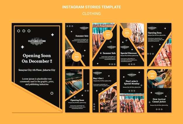 Szablon historii sklepu odzieżowego na instagramie
