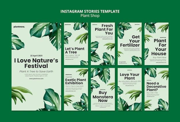 Szablon historii sklepu z roślinami na instagramie