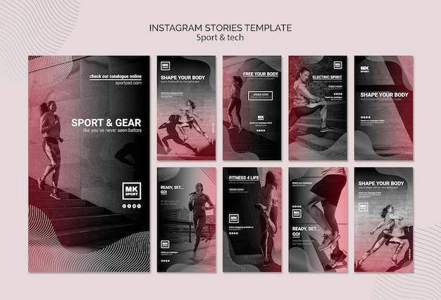 Szablon historii sportu i techniki na instagramie