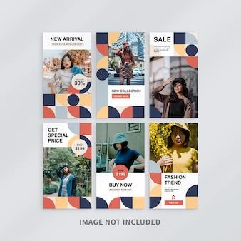 Szablon historii sprzedaży mody na instagramie