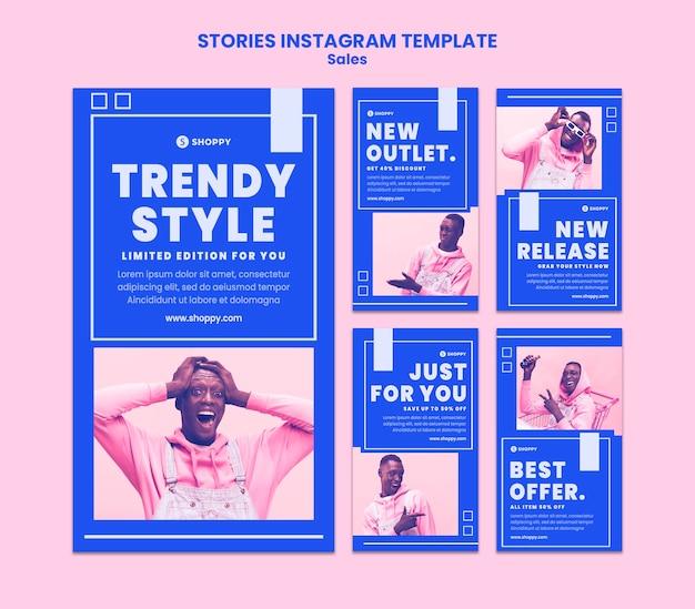 Szablon historii sprzedaży na instagramie w sprzedaży outletowej