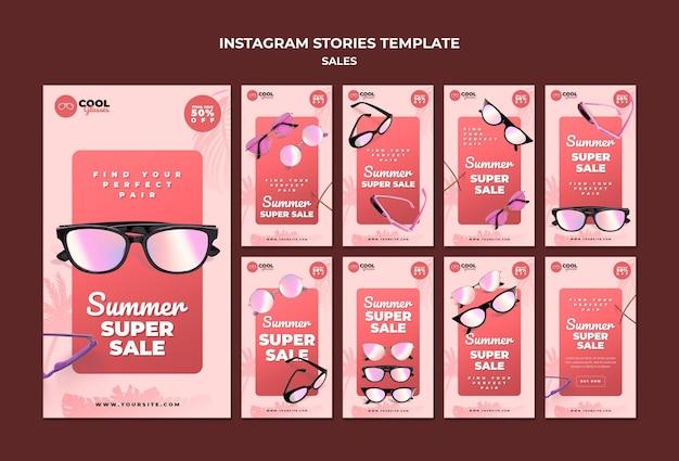 Szablon historii sprzedaży okularów w mediach społecznościowych