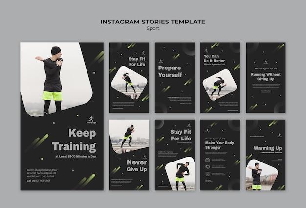 Szablon historii treningu fitness na instagramie