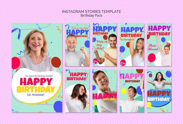 Szablon historii urodzin instagram