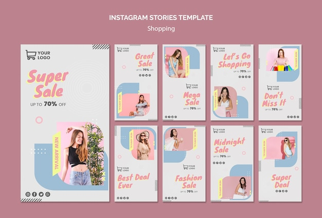 Szablon historii zakupów sprzedaż instagram