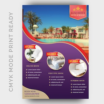 Szablon hotelu luksusowy plakat, ulotka, strona magazynu