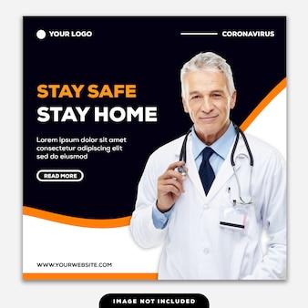 Szablon instagram post banner bądź bezpieczny zostań w domu koronawirus