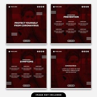 Szablon instagram post banner chroń się przed objawami coronavirus porady zapobieganie