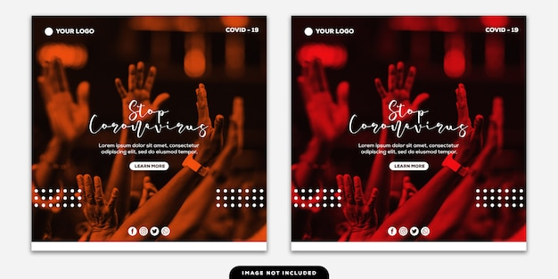Szablon instagram post banner collection zatrzymaj coronavirus