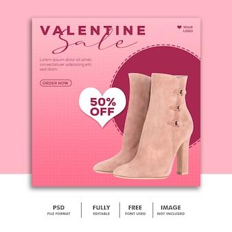Szablon instagram post fashion valentine shoes