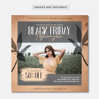 Szablon instagram promocja sprzedaży mody w czarny piątek