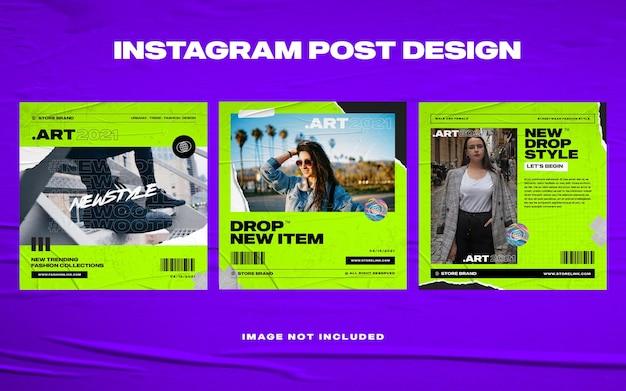 Szablon instagramu mediów społecznościowych miejskiej mody