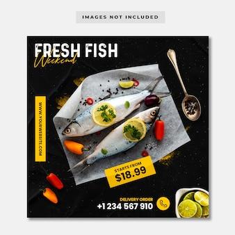 Szablon instagramu mediów społecznościowych sprzedaży świeżych ryb