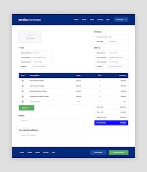 Szablon interfejsu użytkownika aplikacji internetowej generatora faktur
