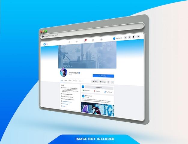 Szablon interfejsu użytkownika facebooka na makiecie przeglądarki internetowej 3d