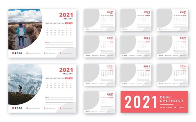 Szablon kalendarza biurkowego 2021 do druku