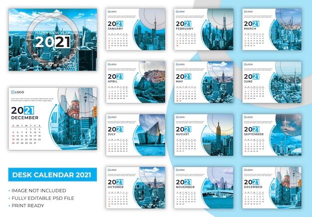 Szablon kalendarza na biurko 2021