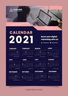 Szablon kalendarza ściennego agencji kreatywnej