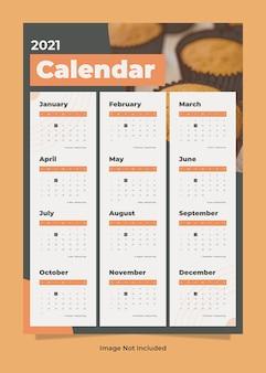 Szablon kalendarza ściennego żywności