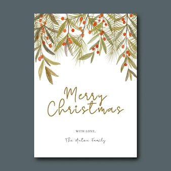 Szablon kartki świątecznej z akwarelą bożonarodzeniowych liści i liści sosny dekorasi