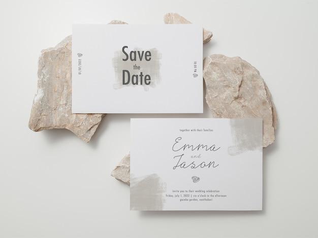 Szablon karty zaproszenia, makieta karty ślubnej, makieta minimalistyczna papeteria 5x7.