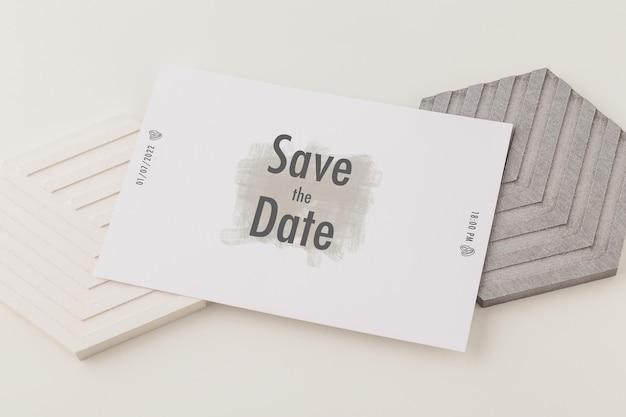 Szablon karty zaproszenia, makieta karty ślubnej, minimalistyczna makieta papeterii 5x7.